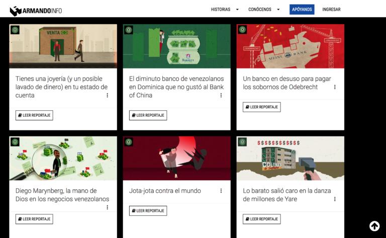Algunas de las investigaciones sobre FinCEN Files publicadas por Armando.info. (Captura de pantalla)